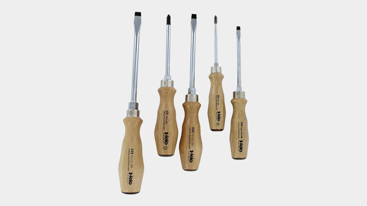 Felo Wood Handle Screwdriver Set